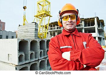 constructor, trabajador construcción, sitio, feliz