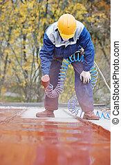 constructor, trabajador, techador, pintor
