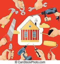 constructor, vector, handtools, casa, herramienta,...