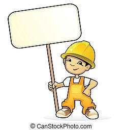 constructor, vector, joven, ilustración, señal