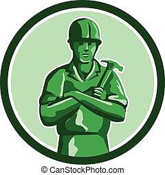 constructor, verde, retro, tenencia, círculo, martillo