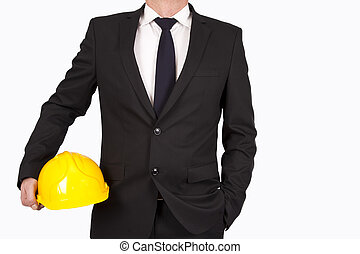 constructor with headless suit and tie, isolated on white