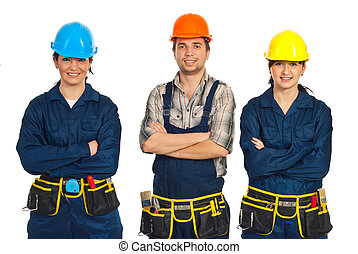Constructor workers team with hands crossed - Constructor...