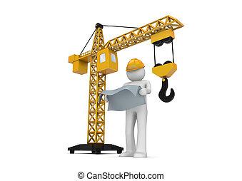 constructor, y, grúa