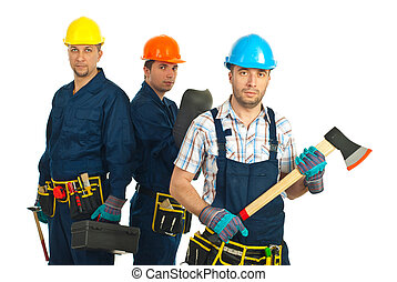 Constructors workers team - Mid adult constructor worker...