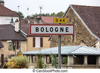 construido, área, arriba, francia, bologne, principio