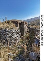 construido, era, militar, concreto, arcón, albania, ruinas, ...