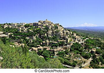 construido, gordes, aldea, azur, región, france., cote,...