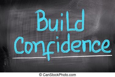 construir, confiança, conceito