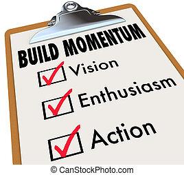 construir, em movimento, lista de verificação, impulso, área...