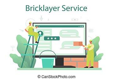 construir, online, ou, serviço, pedreiro, profissional, construtor, platform.