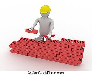 construir, parede, tijolo, 3d, vermelho, homem