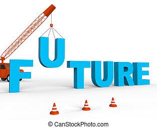 construire, avenir, représente, bâtiment, destin, 3d, rendre