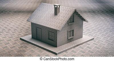 construire, défense, maison, maison, concept, assurer