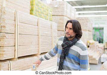 construire matériels, portrait, homme, magasin, deux âges