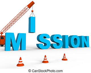 construire, mission, spectacles, missions, but, et, cible, 3d, rendre