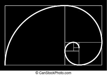 construire, ratio., gabarit, scalable, proportion, spirale, construction, illustration, helix., proportion, vecteur, doré, proportion., composition, design., idéal