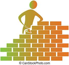 construisant briques, outils, maçon