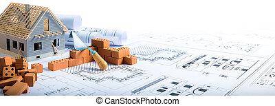 construisant briques, -, projet, maison