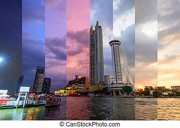 construisant couleur, coucher soleil, différent, reflet, élevé, temps, ombre, eau