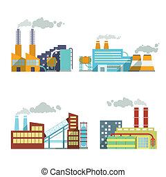 construisant industrie, ensemble, icônes