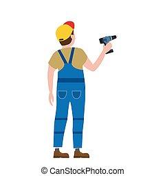 construisant industrie, illustration, isolated., ouvrier, screwdriver., vecteur, réparation, professionnel, intérieur, nouveau, construction, maison, homme