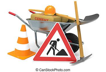 construisant matériel, ouvrier, construction, sous