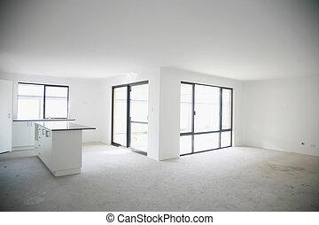 construit, maison, benchtop., intérieur, récemment, vide, cuisine
