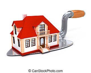 construit, maison, outillage, darby, privé, nouveau