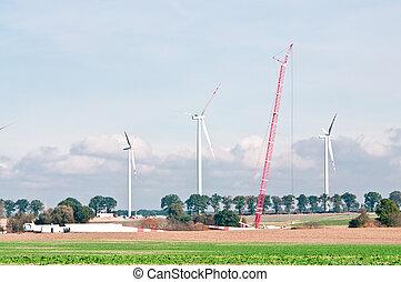 construit, stations, puissance, vent
