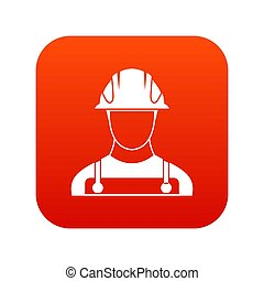 construtor, ícone, vermelho, digital