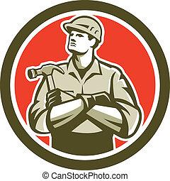 construtor, carpinteiro, braços cruzaram, retro, círculo, martelo