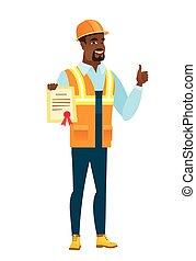 construtor, certificado., segurando, africano-americano