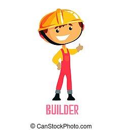 construtor, coloridos, personagem, trabalhador, ilustração, vetorial, construção, repairman., caricatura