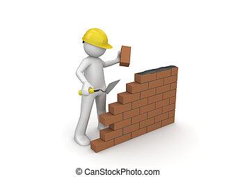 construtor, construção, /, sob