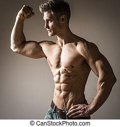construtor corpo, posar