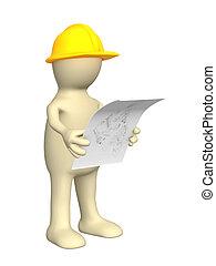 construtor, esboço, 3d