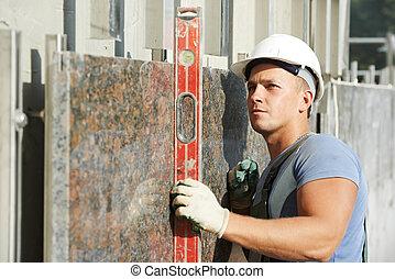 construtor, fachada, plasterer, trabalhador, com, nível