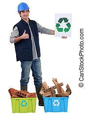 construtor, reciclagem, materiais