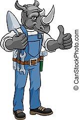 construtor, segurando, ferramenta, rinoceronte, pedreiro, trowel