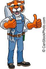 construtor, segurando, tiger, pedreiro, ferramenta, trowel
