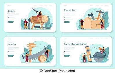construtor, set., jointer, página, aterragem, ou, bandeira, teia, carpinteiro
