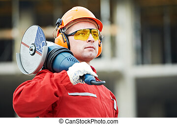 construtor, trabalhador construção, local
