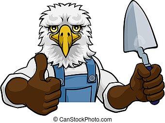construtor, trowel, pedreiro, águia, ferramenta, segurando