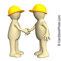 construtores, fantoches, -, dois, abanar, mão