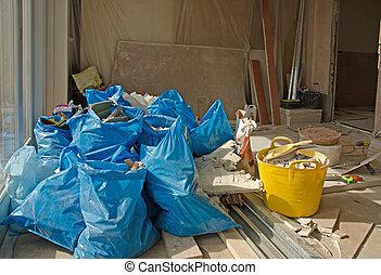 construtores, lixo