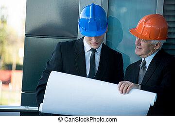 construtores, planificação, a, trabalho