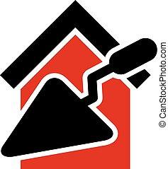 construya, espátula, casa, idea, reconstrucción, icono, clásico, reparación, herramientas, plastering., equipo, vector, símbolo., materials., trabajo, hogar, estilizado