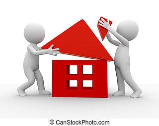 construya, un, casa