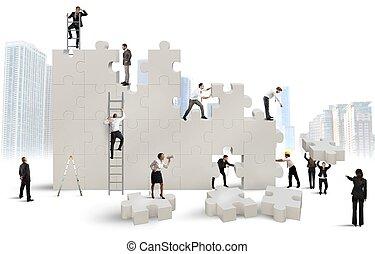 construya, un, nuevo, compañía